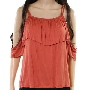 14 & Union NWT Orange Cold Shoulder Top